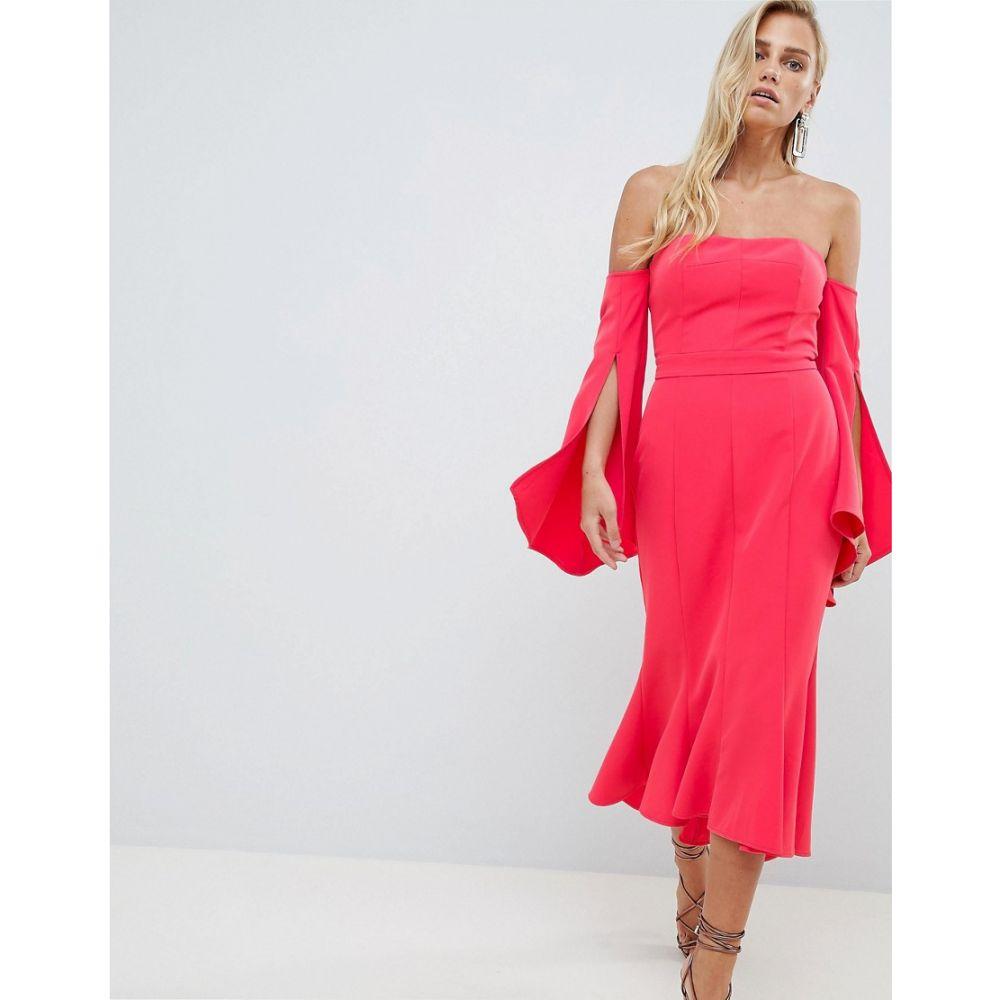 フォーエバーニュー Forever New レディース ワンピース・ドレス ワンピース【Bardot Midi Dress with Fishtail Hem】Red