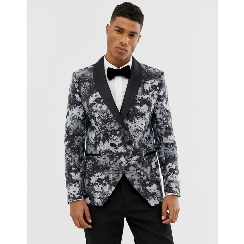 モス ブラザーズ メンズ アウター スーツ・ジャケット【Moss London skinny blazer in smoke print】Grey