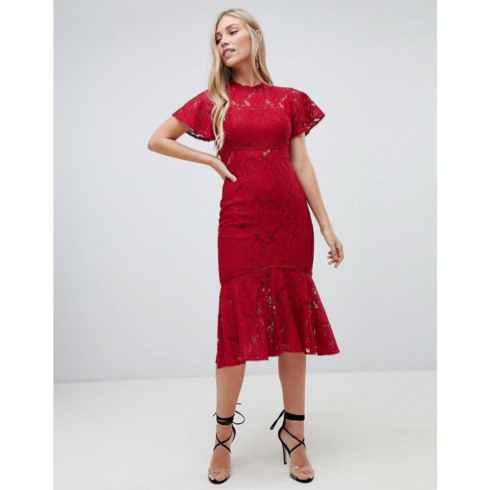 フォーエバーニュー Forever New レディース ワンピース・ドレス ワンピース【midi lace dress with frill sleeve in berry】Berry