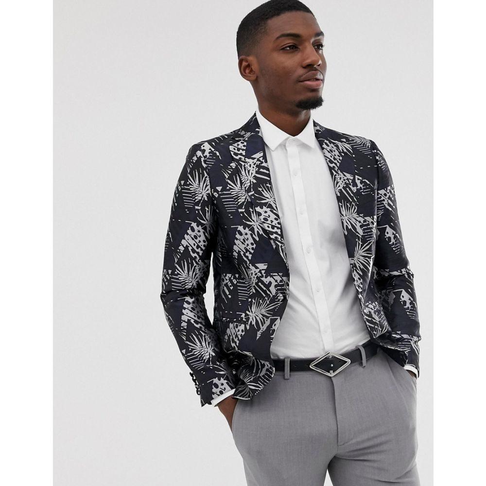 モス ブラザーズ MOSS BROS メンズ アウター スーツ・ジャケット【Moss London slim blazer with monochrome palm jacquard in black】Black