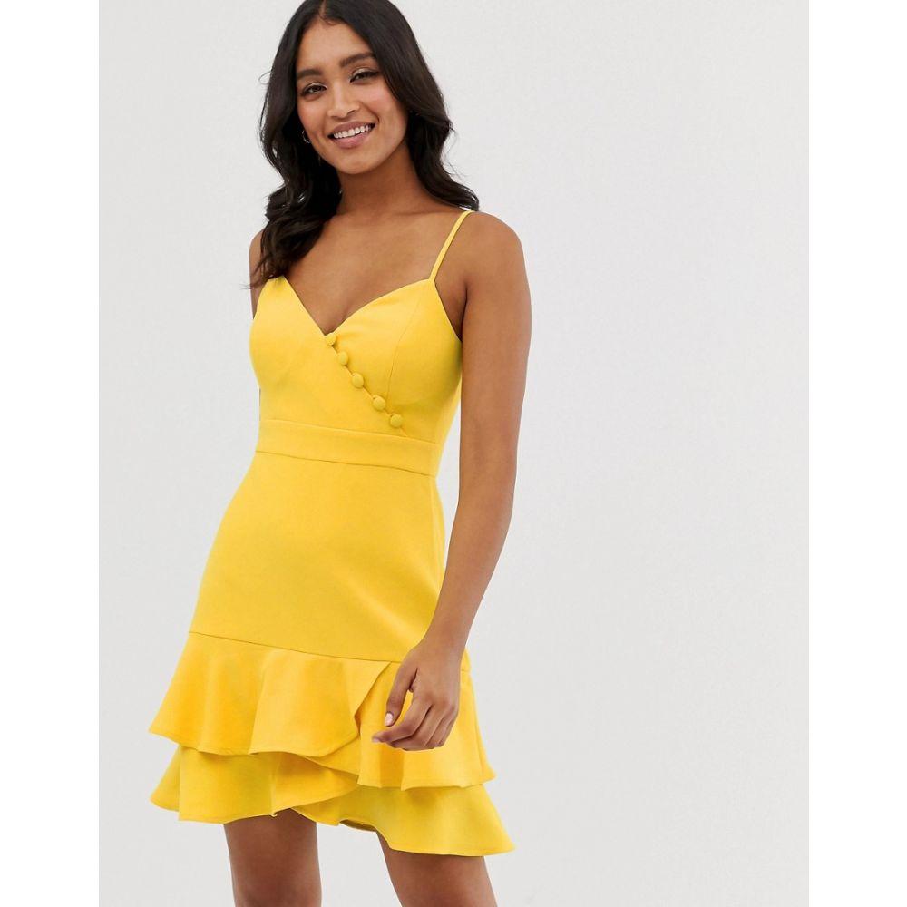 フォーエバーニュー Forever New レディース ワンピース・ドレス ワンピース【button detail flippy hem mini dress with belt in yellow】Sunshine yellow