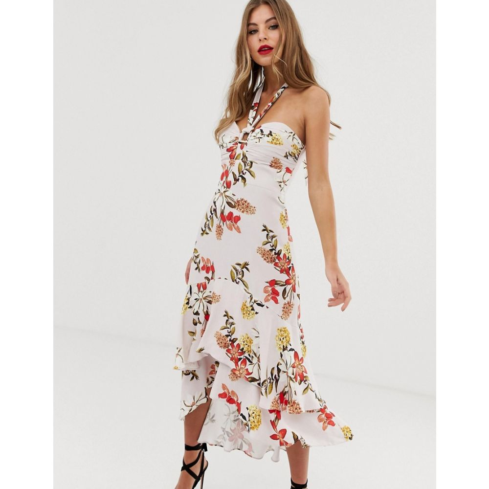 フォーエバーニュー Forever New レディース ワンピース・ドレス ワンピース【halterneck midi dress with asymmetric hem in floral print】Multi
