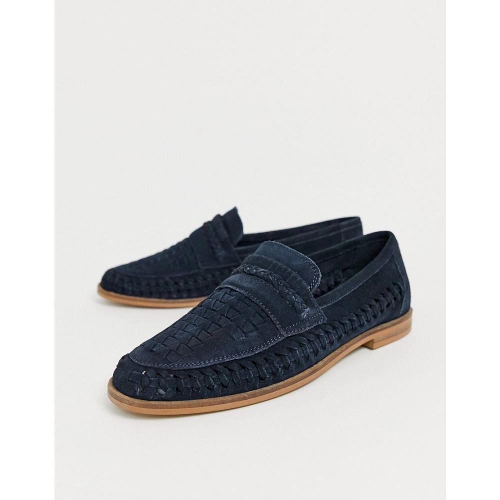 モス ブラザーズ MOSS BROS メンズ シューズ・靴 ローファー【Moss London suede woven loafer in navy】Navy