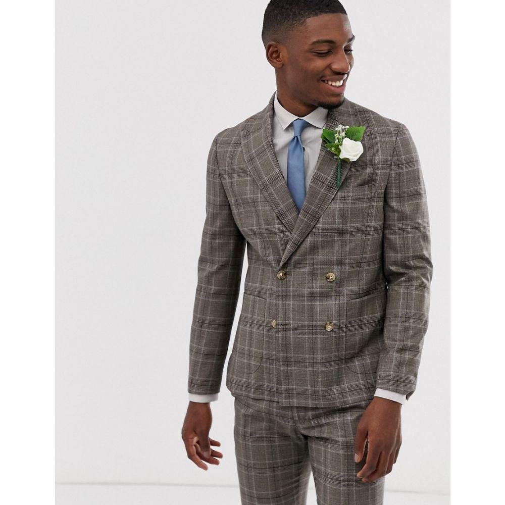 モス ブラザーズ MOSS BROS メンズ アウター スーツ・ジャケット【Moss London skinny suit jacket in brown check】Brown