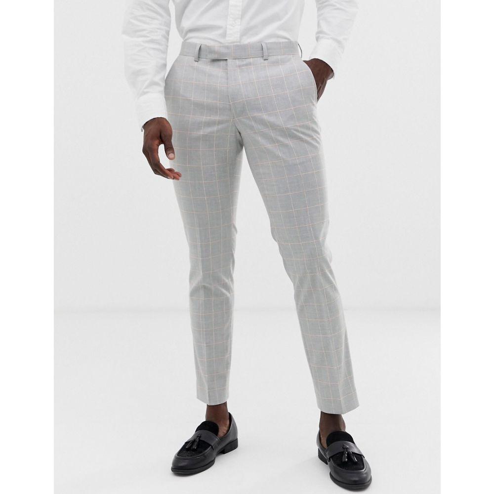 モス ブラザーズ MOSS BROS メンズ ボトムス・パンツ スラックス【Moss London slim suit trouser in grey windowpane check with stretch】Grey