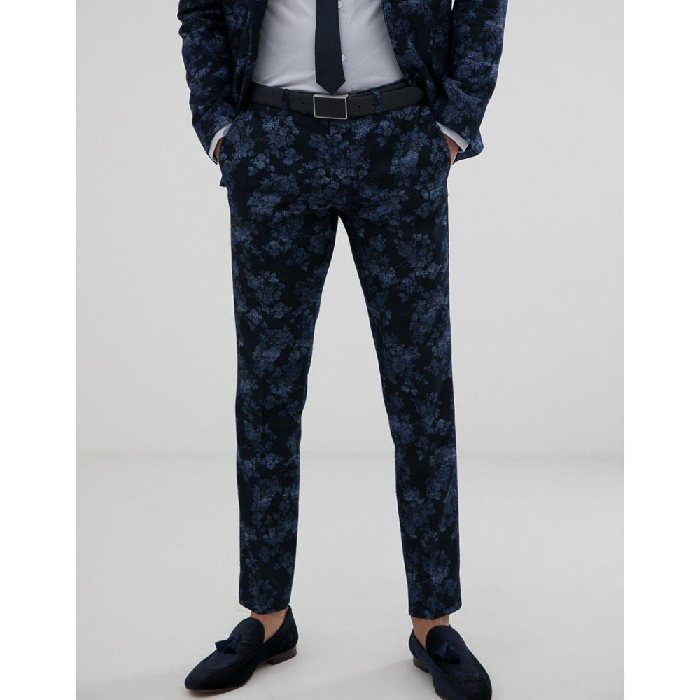 モス ブラザーズ MOSS BROS メンズ ボトムス・パンツ スラックス【Moss London slim fit suit trousers with floral print in navy】Blue