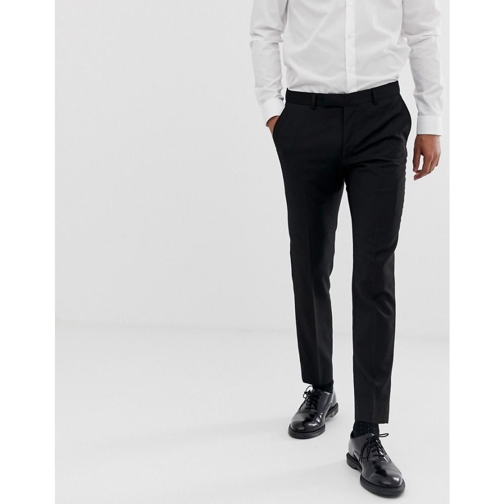 モス ブラザーズ MOSS BROS メンズ ボトムス・パンツ スラックス【Moss London skinny fit suit trouser in black with stretch】Black