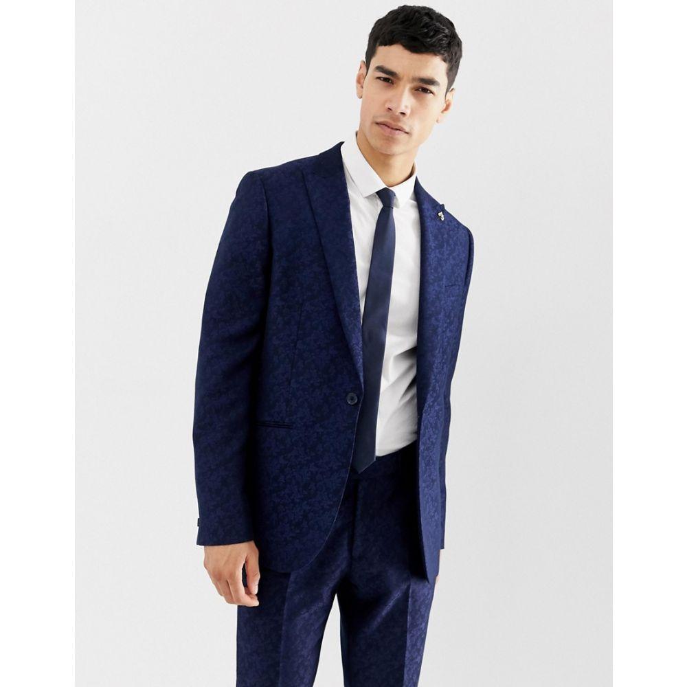 ファラー Farah Smart メンズ アウター スーツ・ジャケット【Farah Hookstone party skinny suit jacket in floral jacquard】Navy