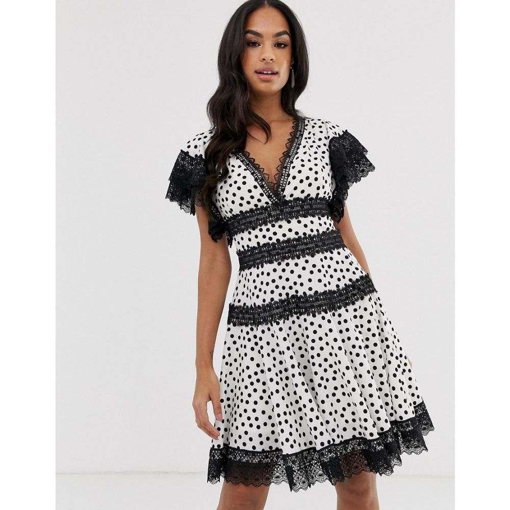 ブロンクス アンド バンコ Bronx and Banco レディース ワンピース・ドレス ワンピース【Bronx & Banco Brenda polka dot mini dress with lace trim】White/black