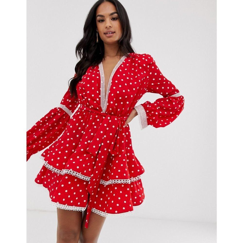 ブロンクス アンド バンコ Bronx and Banco レディース ワンピース・ドレス ワンピース【Bronx & Banco Margo polka dot mini dress】Red