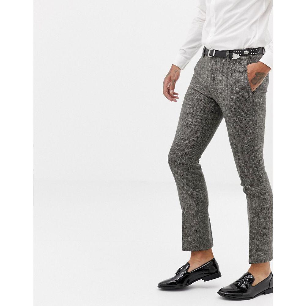 ツイステッド テイラー Twisted Tailor メンズ ボトムス・パンツ スラックス【super skinny suit trouser in grey herringbone】Grey