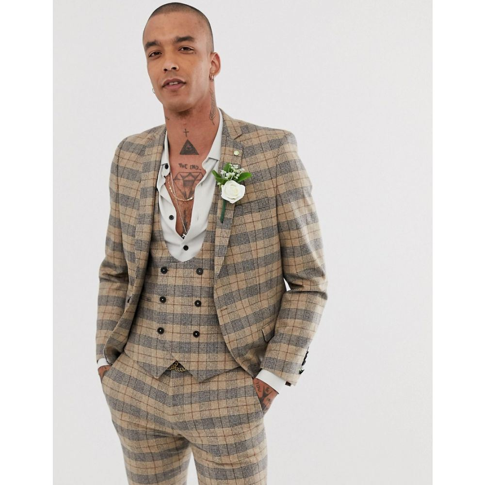 ツイステッド テイラー Twisted Tailor メンズ アウター スーツ・ジャケット【super skinny wedding suit jacket with chain in heritage brown check】Tan
