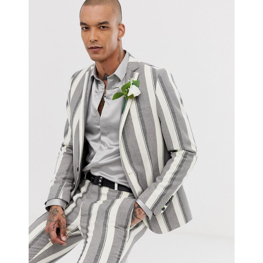ツイステッド テイラー Twisted Tailor メンズ アウター スーツ・ジャケット【super skinny wedding suit jacket in wide stripe stone】Stone