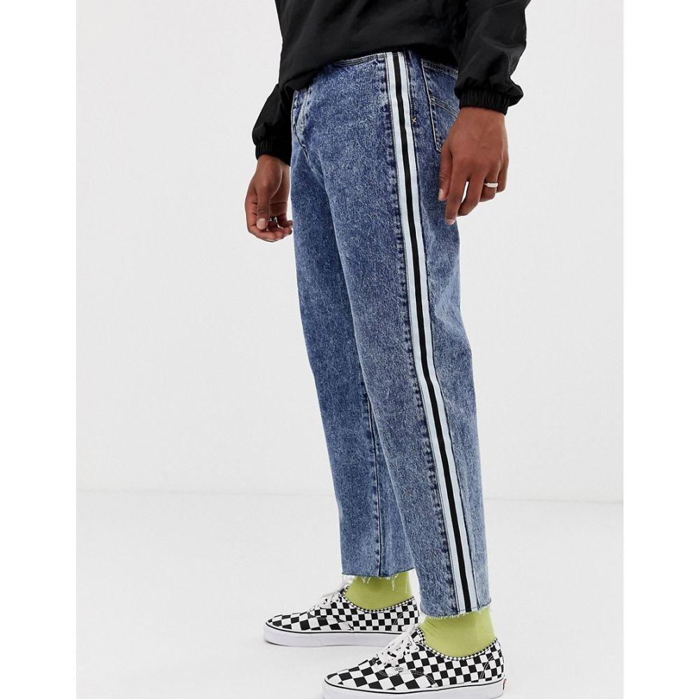 コルージョン Collusion メンズ ボトムス・パンツ ジーンズ・デニム【COLLUSION x005 straight leg crop jean with side stripe in dark snow wash】Blue
