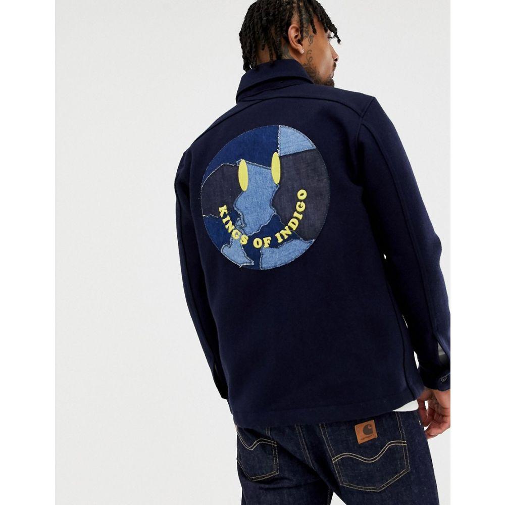 キングスオブインディゴ Kings Of Indigo メンズ アウター ジャケット【recycled wool worker jacket with smile back in navy】Navy