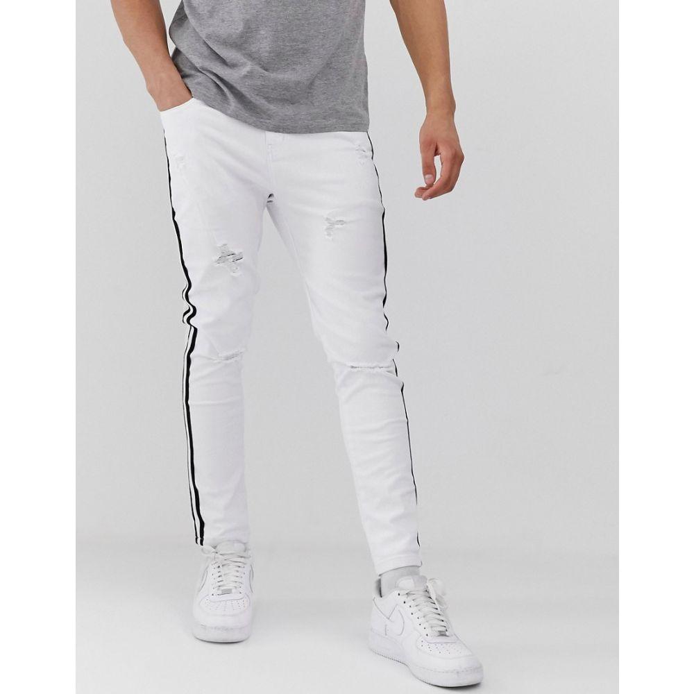モーヴェ Mauvais メンズ ボトムス・パンツ ジーンズ・デニム【muscle jeans with distressing and side stripe】White