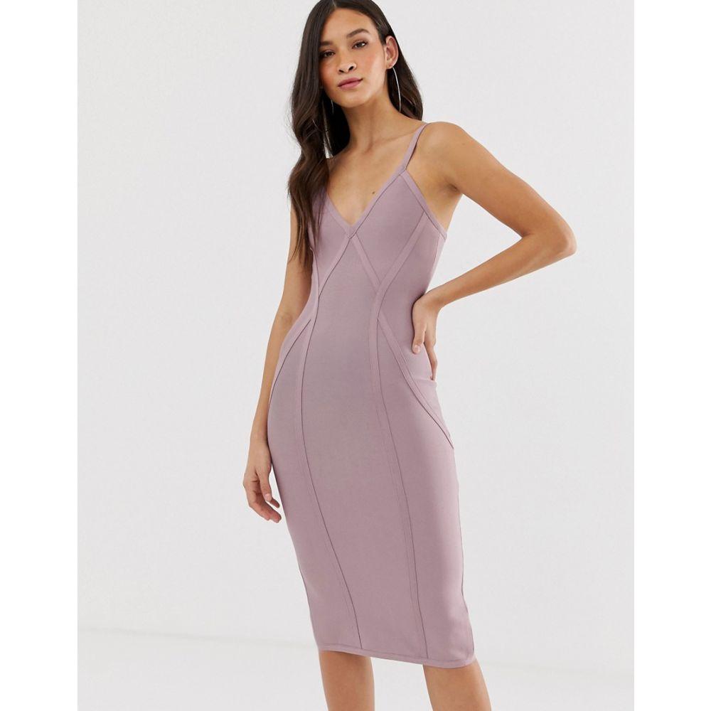 ガールコード The Girlcode レディース ワンピース・ドレス ワンピース【bandage v neck plunge dress with contour lines midi dress in lilac】Lilac