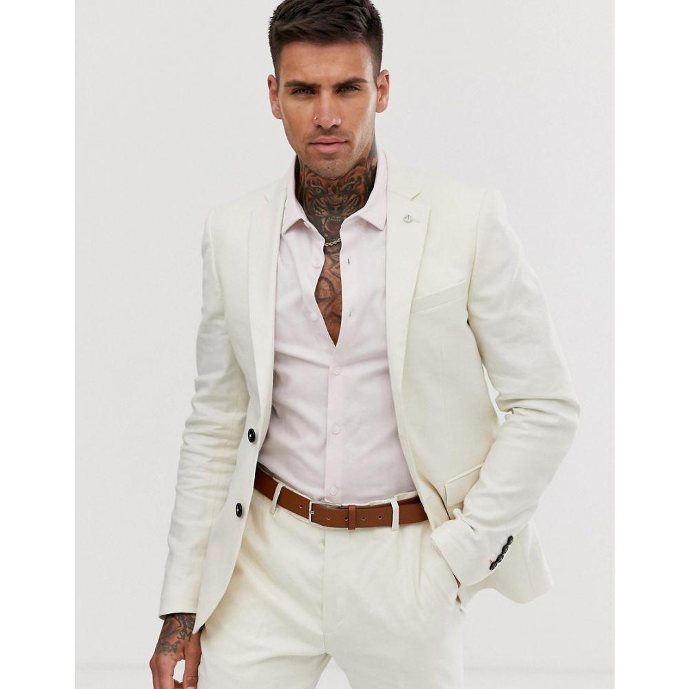 アヴェイルロンドン AVAIL London メンズ アウター スーツ・ジャケット【Avail London linen skinny fit suit jacket in stone】Stone