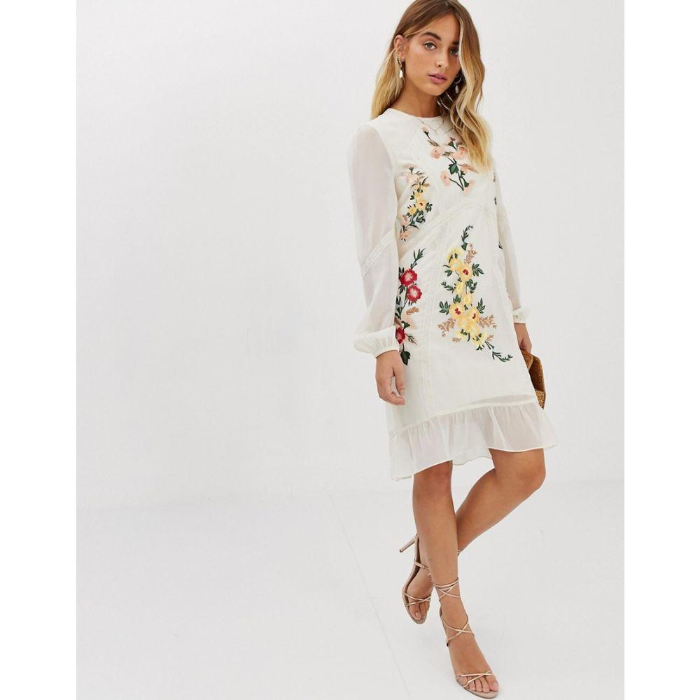 ホープ&アイビー Hope & Ivy レディース ワンピース・ドレス ワンピース【embroidered midi shift dress in cream】Cream