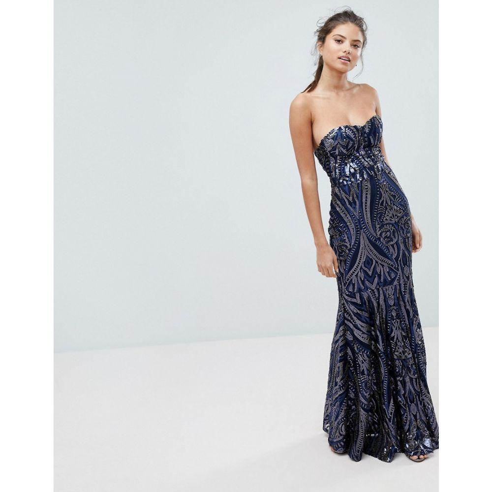 クラブエル ロンドン Club L London レディース ワンピース・ドレス ワンピース【Club L Embellished Sequin Strapless Fishtail Maxi Dress】Navy
