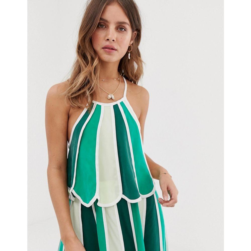 scallop White レディース green in Sand トップス【contrast top stripe hem multi】Green ホワイトサンド