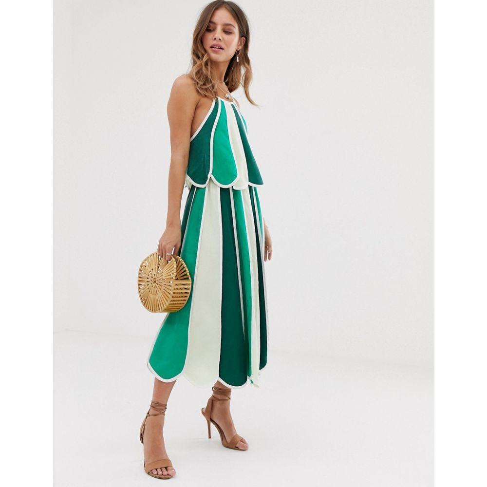 ホワイトサンド White Sand レディース スカート ひざ丈スカート【contrast stripe midi skirt in green multi】Green