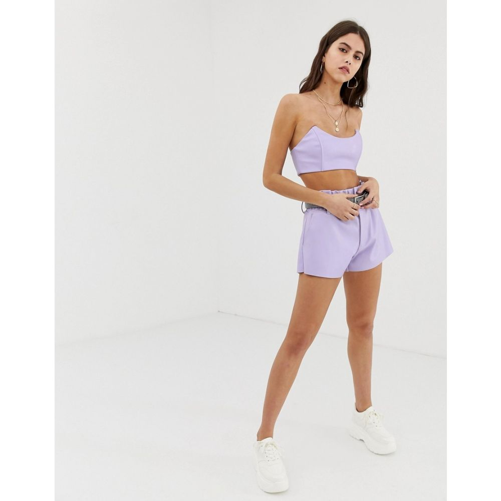 ZYA レディース ボトムス・パンツ ショートパンツ【high waist pu shorts with ruched waistband co-ord】Lilac