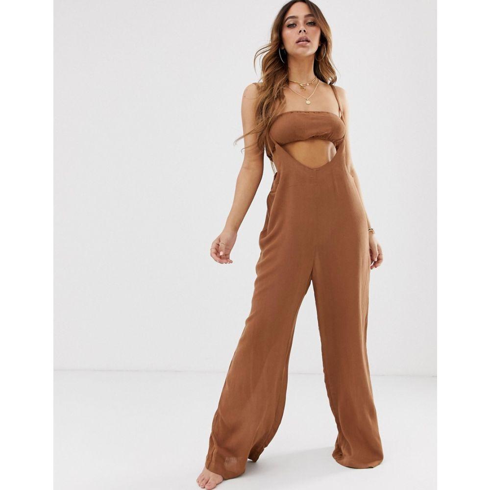 チャーリー ホリデー Charlie Holiday レディース 水着・ビーチウェア ビーチウェア【Desert beach jumpsuit and bandeau co-ord in brown】Brown