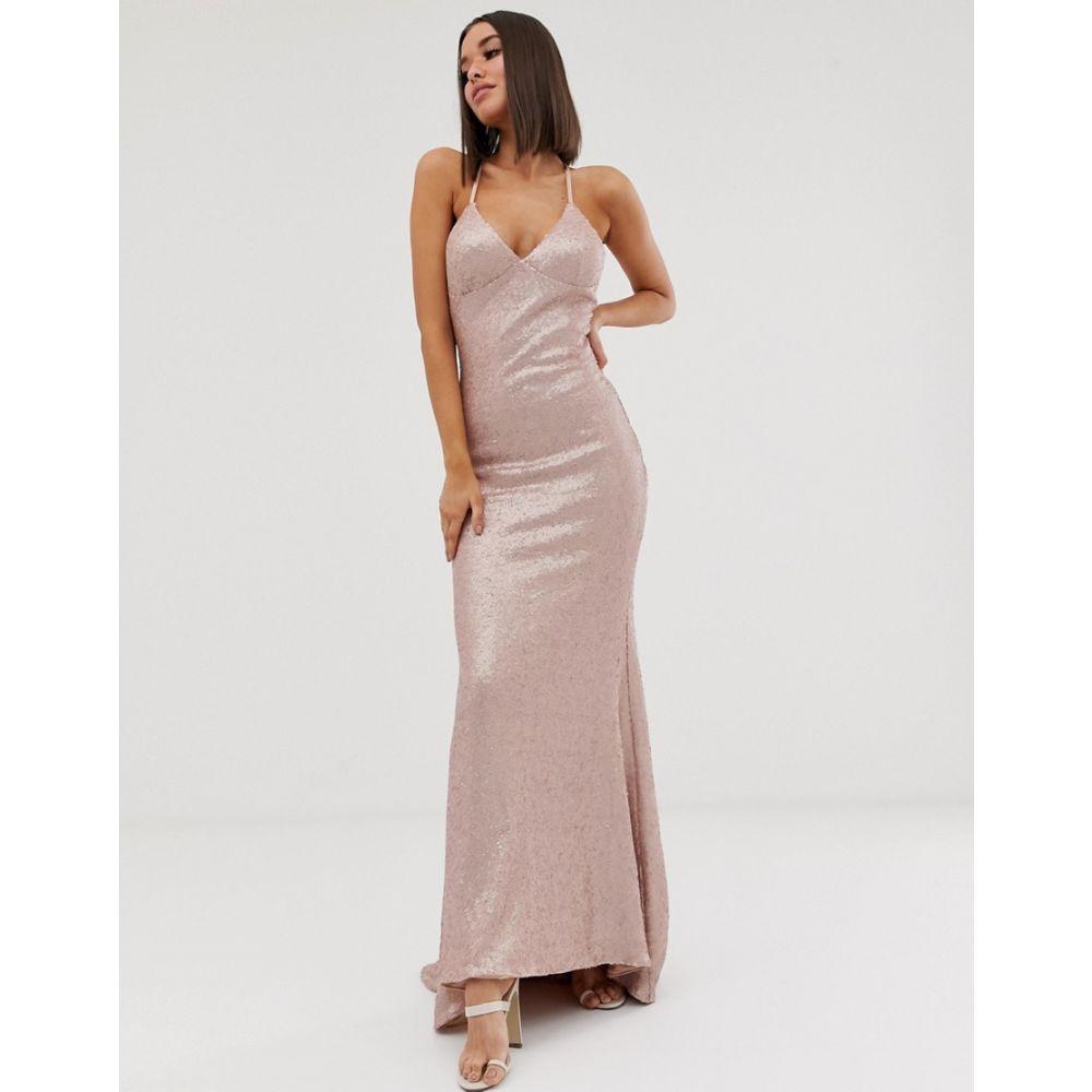クラブエル ロンドン Club L London レディース ワンピース・ドレス ワンピース【sequin cami fishtail maxi dress in pink】Pink
