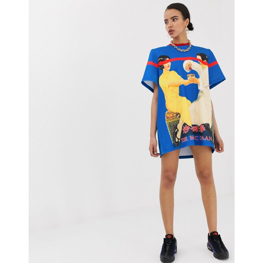Mukzin レディース ワンピース・ドレス ワンピース【padded shoulder t-shirt dress with placement print】Blue