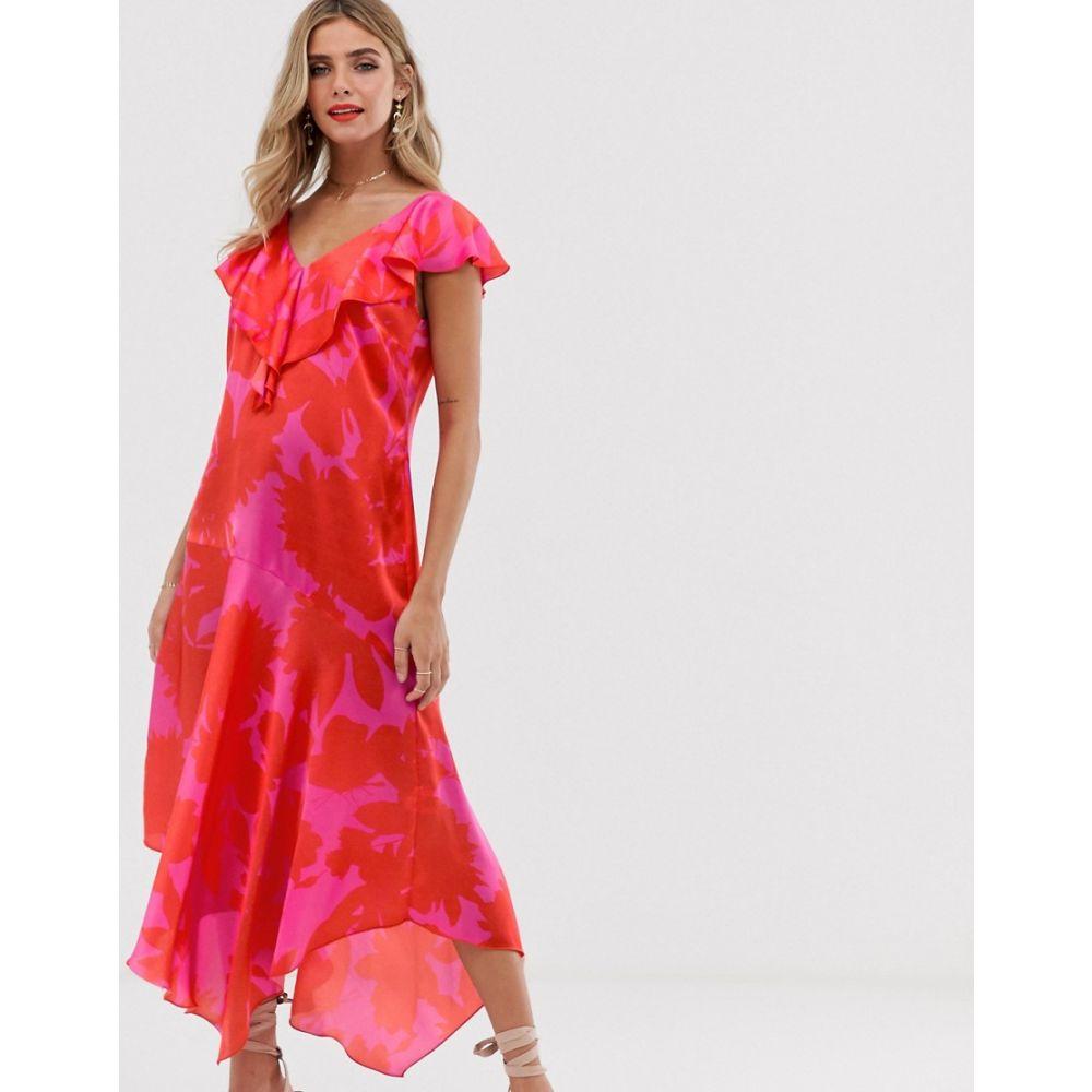 ツイステッドヴンダー Twisted Wunder レディース ワンピース・ドレス ワンピース【asymmetric satin drop hem ruffle dress in pink and red】Fuchsia