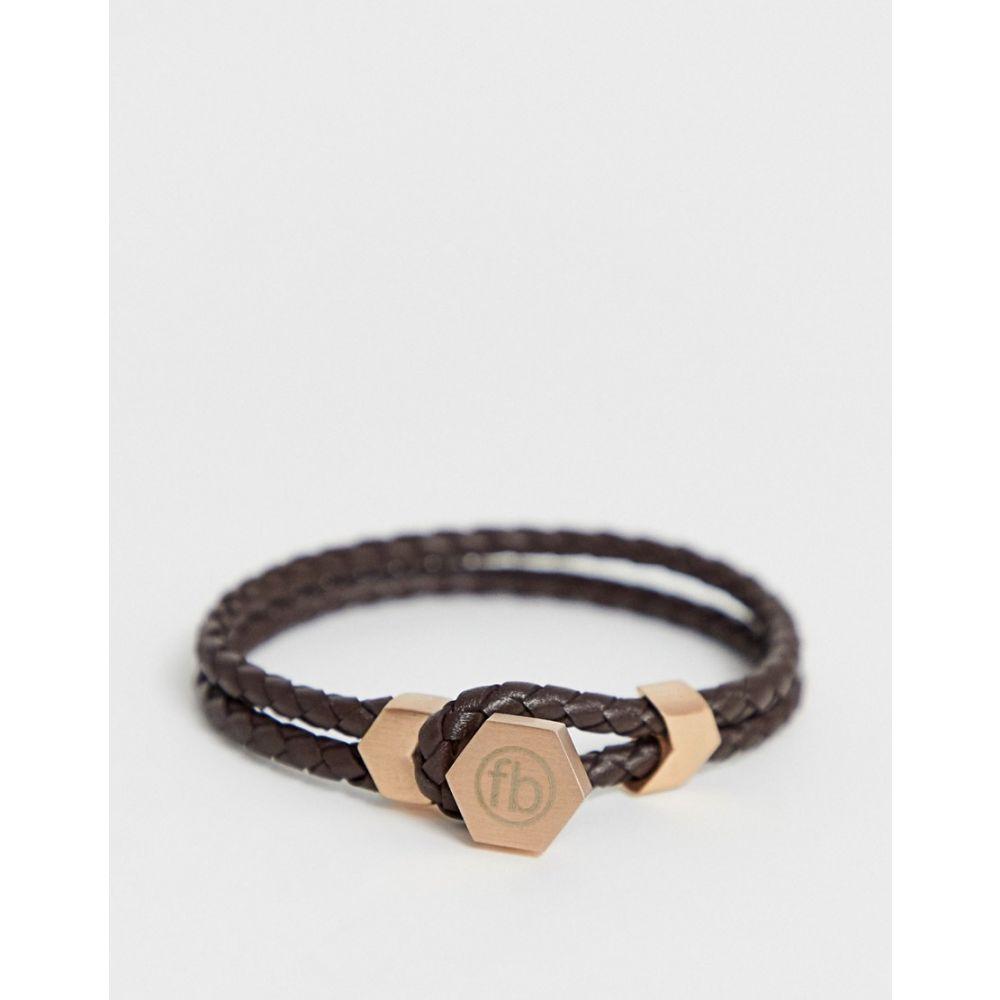 フレッドベネット Fred Bennett メンズ ジュエリー・アクセサリー ブレスレット【leather braided button bracelet in brown】Brown