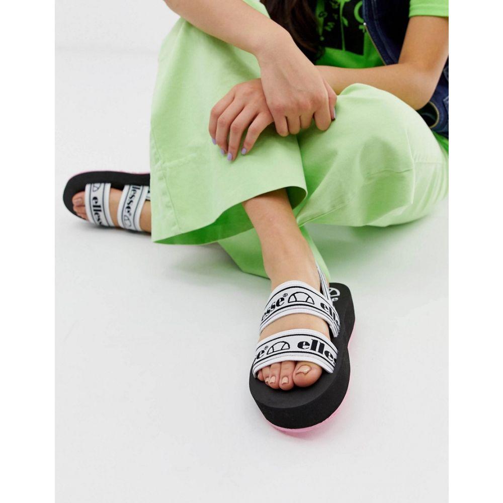 エレッセ ellesse レディース シューズ・靴 サンダル・ミュール【Ellesse Giglio logo strappy chunky flatform sandals in black】White/black