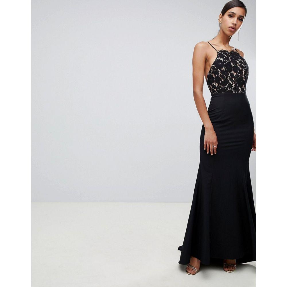 ジャーロ Jarlo レディース ワンピース・ドレス ワンピース【lace top open back fishtail maxi dress in black】Black