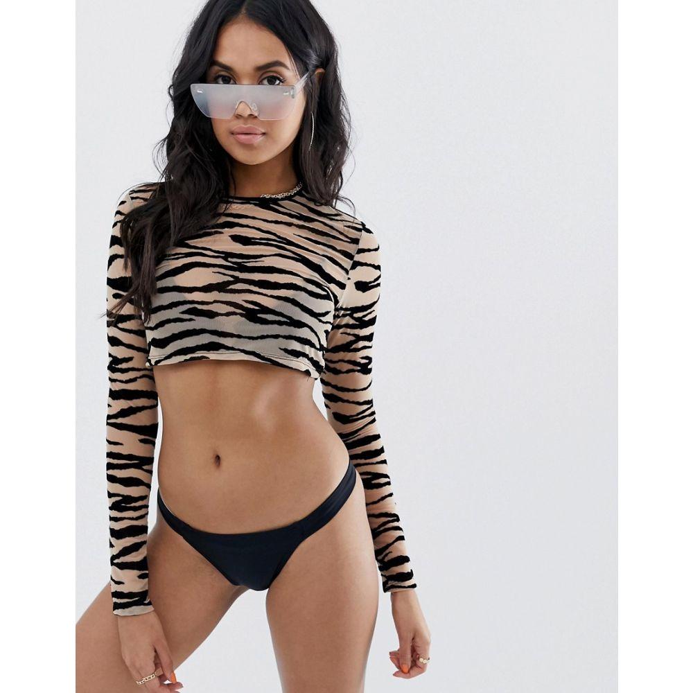 ジェイディッド ロンドン Jaded London レディース 水着・ビーチウェア ビーチウェア【mesh long sleeve crop beach top in zebra】Multi