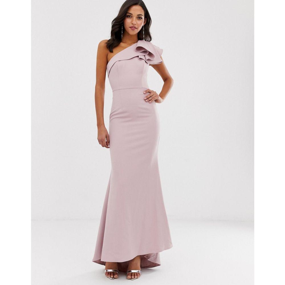 ジャーロ Jarlo レディース ワンピース・ドレス ワンピース【one shoulder maxi dress with ruffle sleeve in pink】Pink