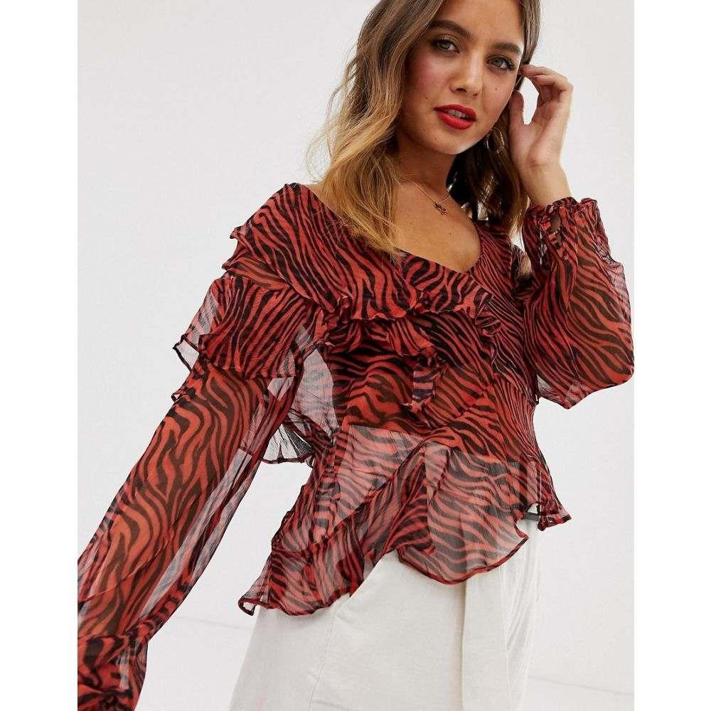 スティーヴィーメイ Stevie May レディース トップス ブラウス・シャツ【Walk On By ruffle floral print blouse】Rouge tiger print