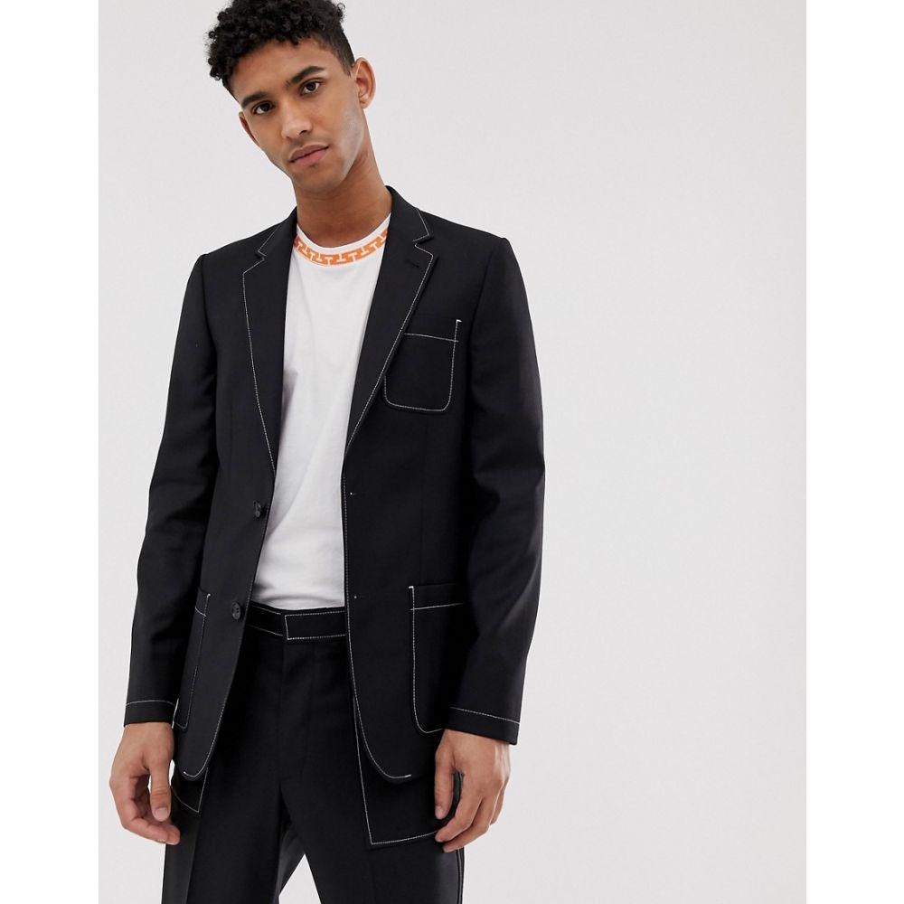 エイソス ASOS DESIGN メンズ アウター スーツ・ジャケット【slim suit jacket in black with contrast white stitch detail】Black