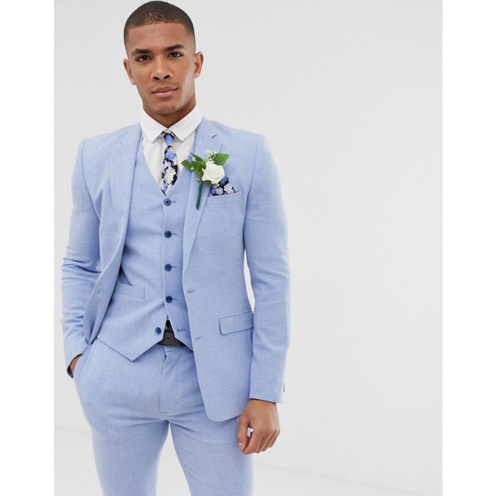 エイソス ASOS DESIGN メンズ アウター スーツ・ジャケット【wedding super skinny suit jacket in light blue cross hatch】Blue