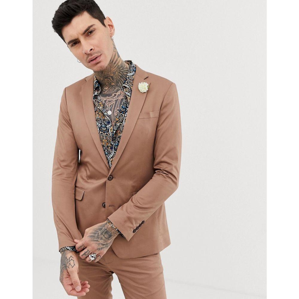 デビルズ アドボケート Devils Advocate メンズ アウター スーツ・ジャケット【super skinny plain cotton sateen stretch suit jacket】Brown