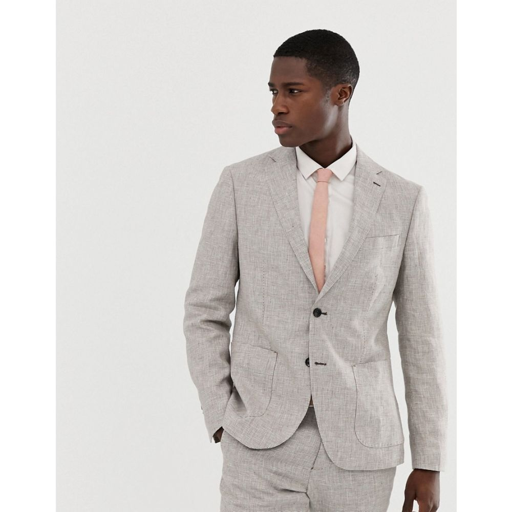 セリオ Celio メンズ アウター スーツ・ジャケット【slim fit linen suit jacket in stone】Stone