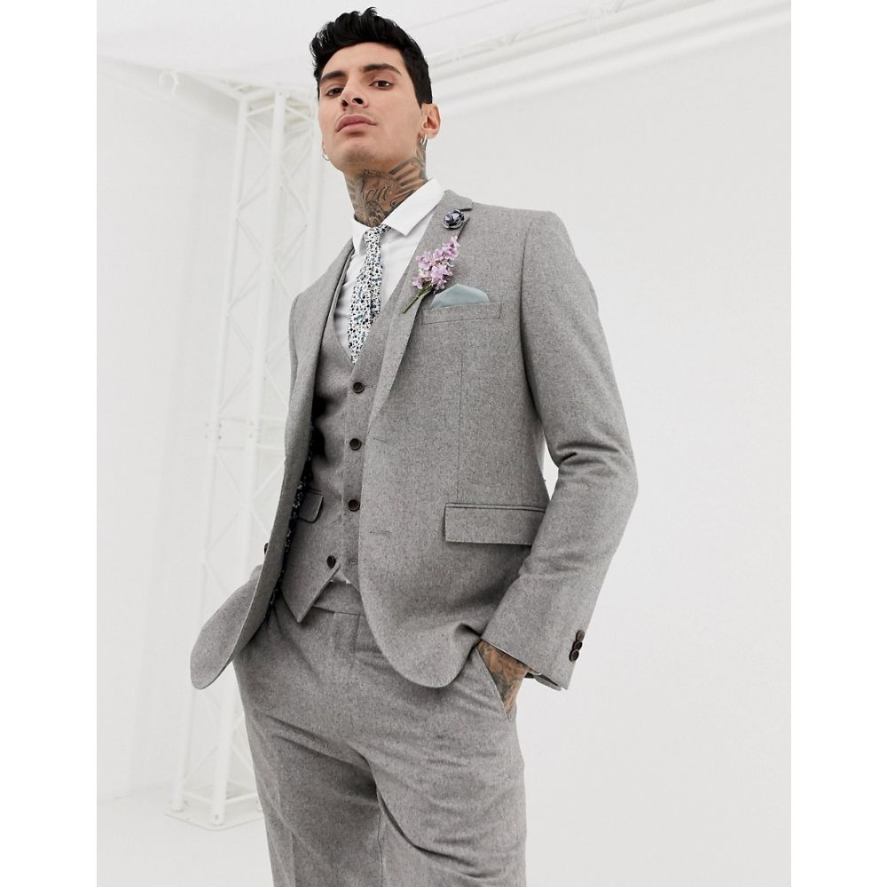 ハリー ブラウン Harry Brown メンズ アウター スーツ・ジャケット【wedding wool blend slim fit summer tweed suit jacket】Grey