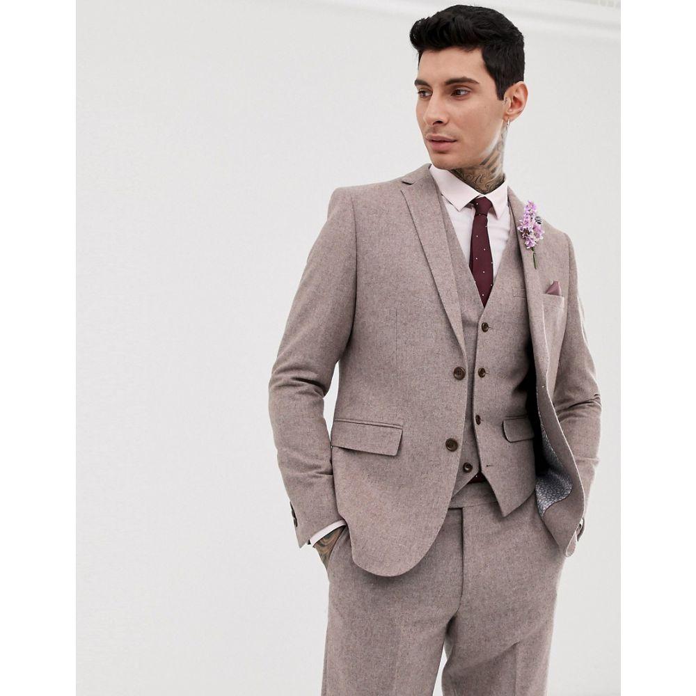ハリー ブラウン Harry Brown メンズ アウター スーツ・ジャケット【wedding wool blend slim fit summer tweed suit jacket】Pink