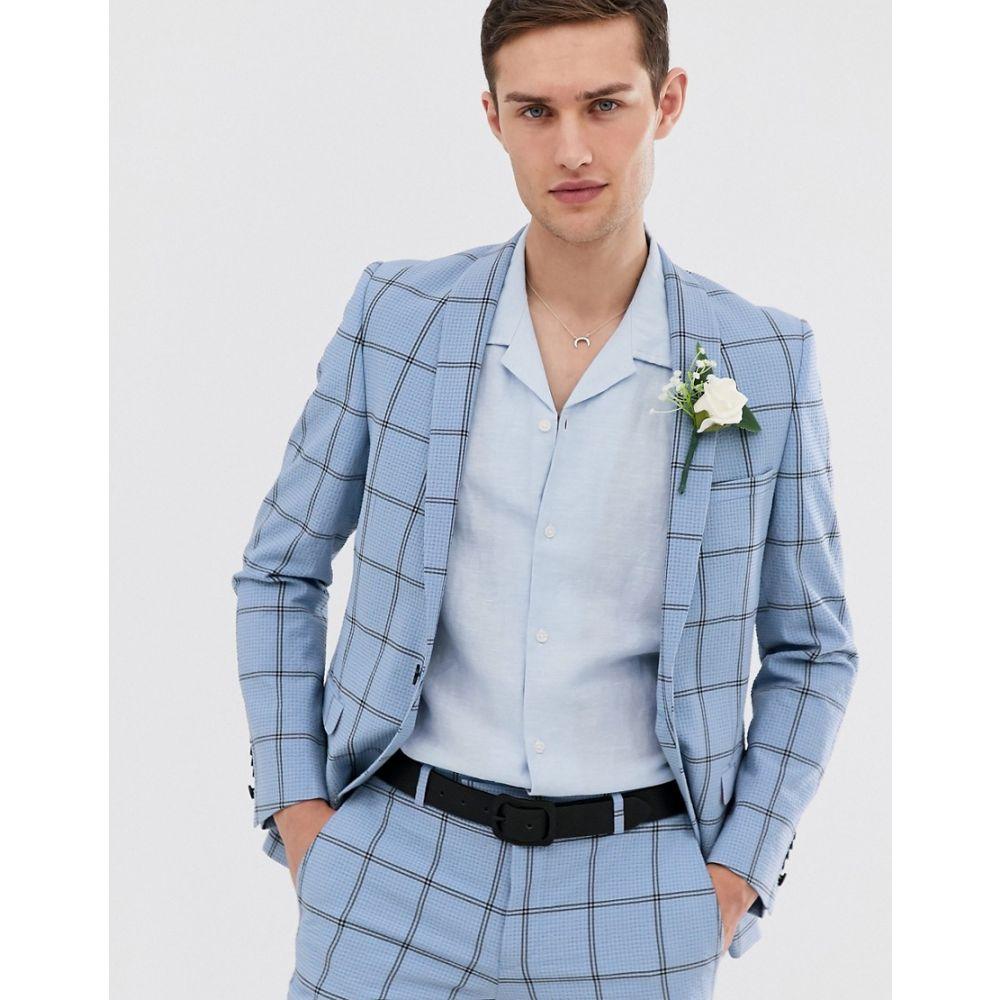 ツイステッド テイラー Twisted Tailor メンズ アウター スーツ・ジャケット【super skinny wedding suit jacket in check seersucker】Blue