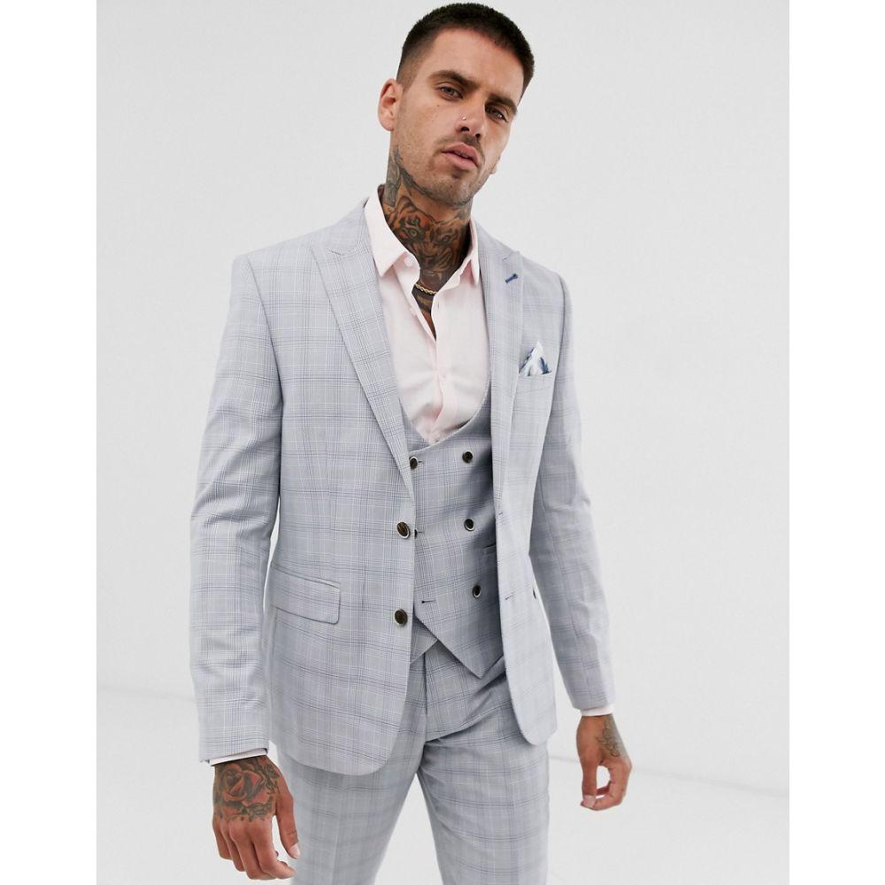 ハリー ブラウン Harry Brown メンズ アウター スーツ・ジャケット【wedding slim fit stone blue check suit jacket】Stone