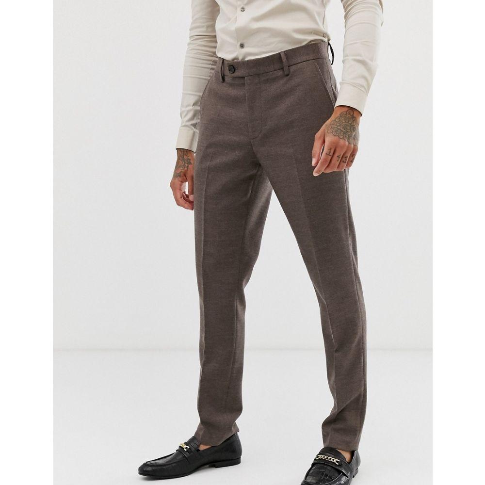 エイソス ASOS DESIGN メンズ ボトムス・パンツ スラックス【wedding skinny suit trousers in soft brown twill】Brown