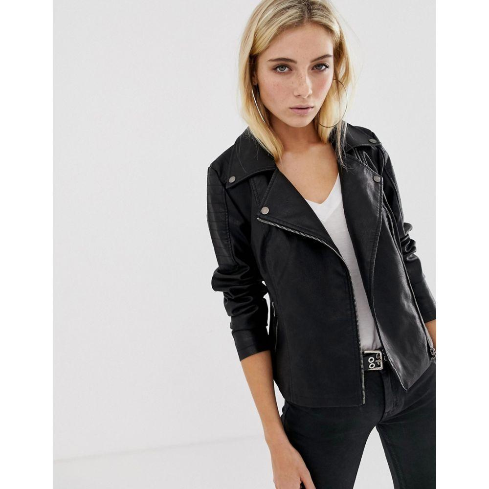 ノイズィーメイ Noisy May レディース アウター レザージャケット【faux leather jacket】Black