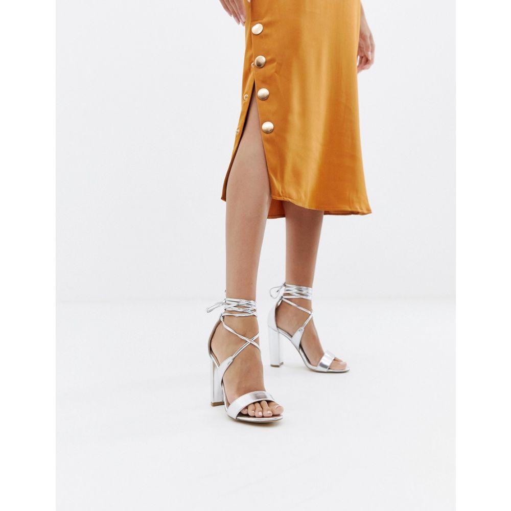 グラマラス Glamorous レディース シューズ・靴 サンダル・ミュール【Silver Ankle Tie Block Heeled Sandals】Silver