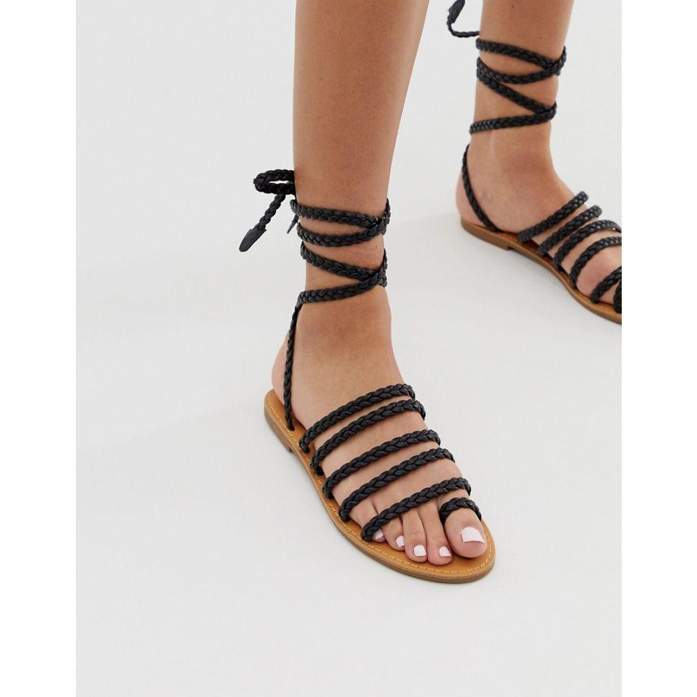 ロンドン レーベル London Rebel レディース シューズ・靴 サンダル・ミュール【plaited toe loop sandals】Black