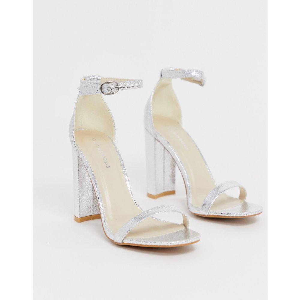グラマラス Glamorous レディース シューズ・靴 サンダル・ミュール【silver barely there square toe block heeled sandals】Silver